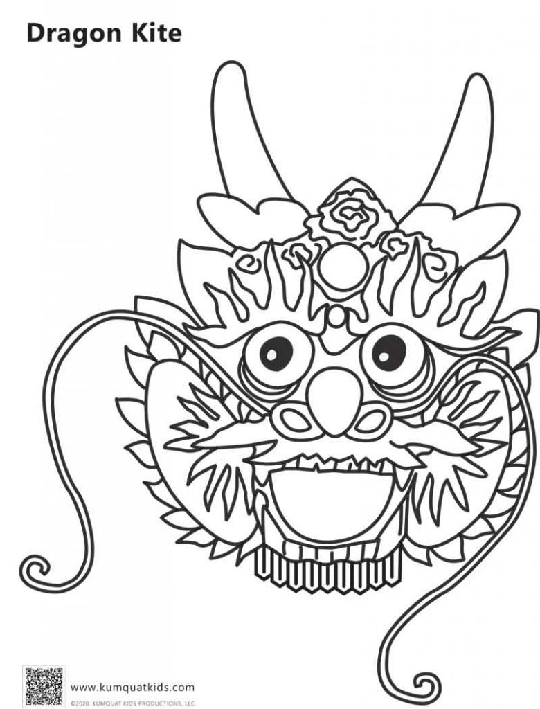 Dragon Kite coloring sheet, by Kumquat Kits Publications