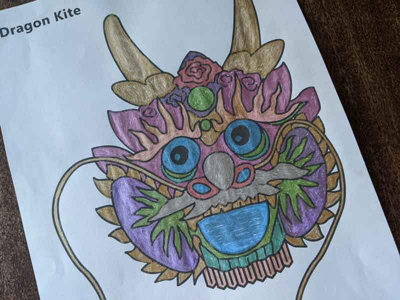 An example of the Dragon Kite project already colored in.
